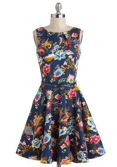 Luck Be a Lady Dress in Potpourri - Blue, Multi, Floral, Pleats, Belted, Party, Sleeveless, Fit & Flare, Mid-length, Cotton, Exposed zipper,...