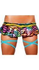 Metallic Rainbow Zebra Pleated Skirt