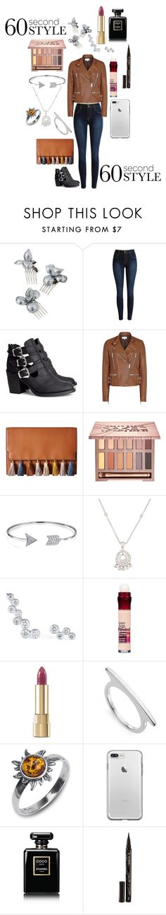 """""""60 seconds-brown and leather"""" by boofly ❤ liked on Polyvore featuring Gigi Burris Millinery, H&M, Rebecca Minkoff, Urban Decay, Bling Jewelry, Maybelline, Dolce&Gabbana, Monica Vinader, Chanel and Smith & Cult"""
