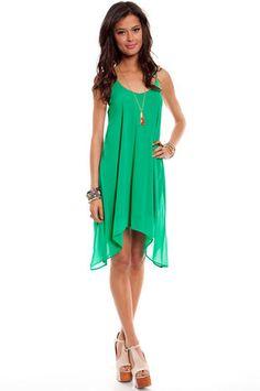 High Tide Dress in Emerald $32 at www.tobi.com