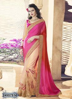 Delusively Peach and Pink Coloured Net Embroidered Saree