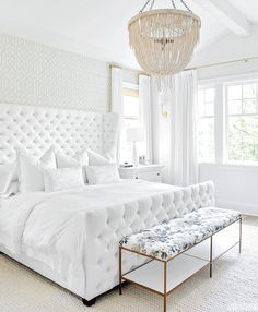 The focal point of the airy master bedroom is a button-tufted bed frame designed by Monika and The. Fainting Couch, White Bedroom, Master Bedroom, Bedroom Decor, Airy Bedroom, Bedroom Ideas, Tufted Bed Frame, White Tufted Bed, Tuffed Bed