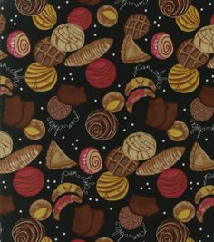 Novelty Quilt Fabric-Pan Dulce Pan Dulce Types, Color Pencil Sketch, Black Food, Novelty Fabric, Fancy Cookies, Food Jar, Mexican Party, Printing On Fabric, Quilts
