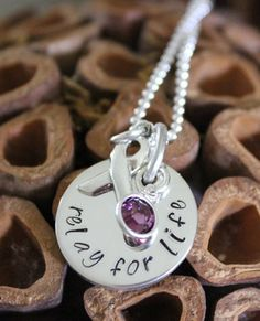 Relay for Life Sterling Silver Hand Stamped Necklace by 2littlePs, $55.00