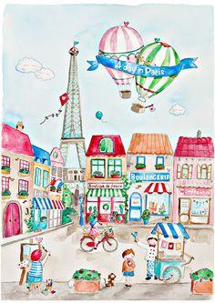 La Tour - A Day in Paris Watercolour Art Print of Parisian Street Scene