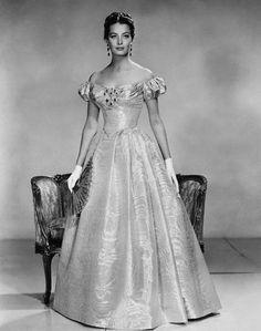 1960 --- Actress Capucine modeling a taffeta evening gown