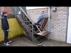 This will allow granny full access to our upper garden. I hope she appreciates it ; Stair Elevator, Elevator Design, Loft, Diy Projects Tools, Ramp Design, House Lift, Stair Lift, Stair Climbing, Casas Containers