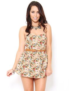 #Floral Print Belted Romper  I love it so much!