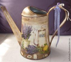 "Лейка - ваза ""Лаванда"" - сиреневый,лаванда,лейка декупаж,ваза декоративная"