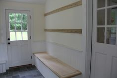 shaker peg rail sized to exact wall size for small area between front door and kitchen. Cottage Hallway, Painted Brick Walls, Shaker Furniture, Custom Furniture, Wood Plugs, Ship Lap Walls, Home Repairs, Shaker Style, Mudroom