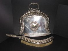 SILVER PLATED TABLE BRUSH AND CRUMB TRAY