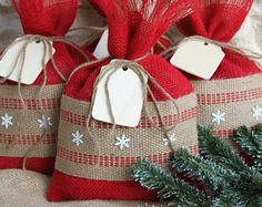 Burlap Gift Bags, Set of FOUR, Shabby Chic Christmas Wrapping, Red and Natural, Jute Webbing and White Metal Snowflakes, Wooden Gift Tag.