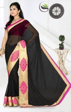 Black color faux chiffon saree with blouse