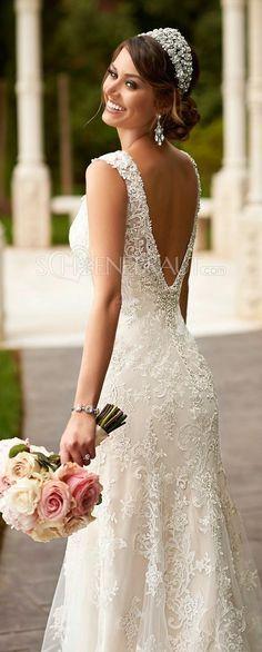 Elegant Spitze Brautkleid Lace Empire Hochzeitskleid lang rückenfrei mit Straß [#UD9124] - schoenebraut.com