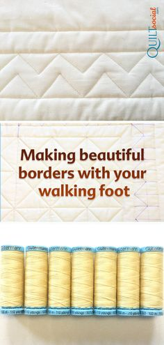Making beautiful borders with your walking foot Join Julie Plotniko for step 4 of a wholecloth walking foot quilt as she uses SCHMETZ needles and Gütermann thread and a UNIQUE marker to create complex looking border designs that can be stitched with ease. Machine Quilting Patterns, Longarm Quilting, Free Motion Quilting, Quilting Tips, Quilting Tutorials, Quilting Stitch Patterns, Quilting Stencils, Quilting Thread, Modern Quilting