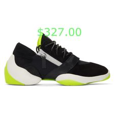 $327.00 Low-top buffed leather, suede, mesh, and textile sneakers in black. Round toe. Tonal lace-up closure. Yellow leather trim at vamp and padded tongue. Leather logo patch at tongue. Zip closure in grey at sides. Treaded rubber island sole colorblocked in white and yellow featuring embossed logo at heel. Grey and silver-tone hardware. Tonal stitching. #luxuryfashion #luxuryfashiontrends #luxurybrandfashion Yellow Leather, Embossed Logo, Giuseppe Zanotti, Stitching, Luxury Fashion, Mesh, Lace Up, Hardware, Toe