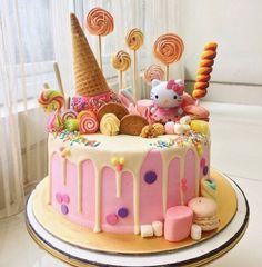 Baby Girl Birthday Cake Ideas Hello Kitty 17 New Ideas - Torten - kuchen kindergeburtstag Little Girl Birthday Cakes, Hello Kitty Birthday Cake, Cake Birthday, Cake For Baby Girl, Little Girl Cakes, Birthday Ideas, Birthday Cake With Candles, Pink Birthday, Mermaid Birthday