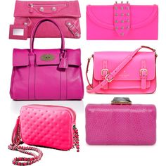 trend: bright pink bags, created by loveraige on Polyvore    MULBERRY, BALENCIAGA, REBECCA MINKOFF, KOTUR ESPEY, KATE SPADE, McQ
