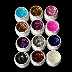 G-Beauty : 1set 12pcs Glittery UV GEL Extension DIY Builder Nail Art * Visit the image link more details.