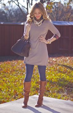Sweater Dress Chic. Love it layered with plaid n pearls