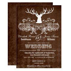 Rustic Antler Deer Winter Woodland wedding Card