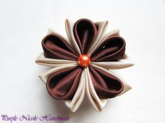 Milk and Chocolate - Handmade Floral Broach by Purple Nicole (Nicole Cea Mov), brown and cream satin kanzashi flower.