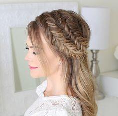Fishtail Braid Hairstyles, Loose Hairstyles, Headband Hairstyles, Summer Hairstyles, Curled Wedding Hair, Braided Prom Hair, Braids For Long Hair, Amber Hair, Slicked Back Hair