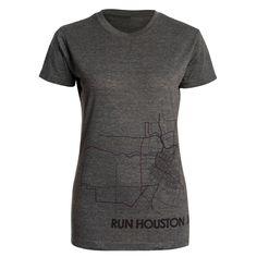 Women's Run Houston Cap Sleeve Dri-Blend Fitted Tees - cute race swag.