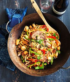 Malaysian-style Hokkien beef noodles | TRIED & TESTED- Yum!  I used half the chilli which was MORE than enough for my taste. I also used cashews instead of water chestnuts.