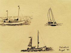 Boats at Felixstowe, Suffolk. Ink drawing Aug 1997