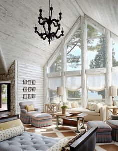 rustic woodwork Beautiful different look for a house in the Mountains!! So not typical! Totally frames the exterior scenery!