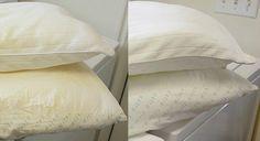 Laver les oreillers jaunis et leur redonner leur blancheur