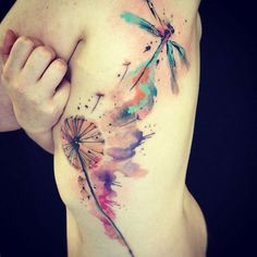 Dragonfly water color tattoo love but without dandelion