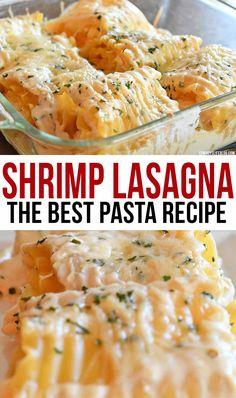Shrimp Lasagna Roll Ups Recipe - A Cowboys Life Seafood Lasagna Recipe Easy, Shrimp Lasagna, Lasagna Rolls Recipe, Lasagna Recipe With Ricotta, Best Pasta Recipes, Fish Recipes, Seafood Recipes, Cooking Recipes, Seafood Roll Recipe