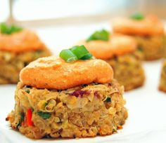 Vegan Mini Quinoa-Chickpea Cakes with Roasted Red Pepper Cashew Cream Sauce from the Virtually Vegan Mama blog