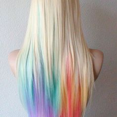 50 Stunningly Styled Unicorn Hair Color Ideas to Stand Out from the Crowd Boring hair days are for boring hair. Once you hop onboard the [. Pastell Highlights, Rainbow Hair Highlights, Color Highlights, Pelo Multicolor, Unicorn Hair Color, Coloured Hair, Mermaid Hair, Ombre Hair, Gray Hair