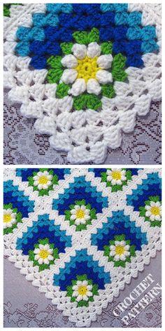 Crochet Mitered Daisy Flower Blanket Free Crochet Pattern + Video