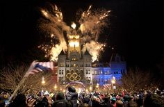Salt Lake, 2002 – Fireworks over the City and County Building welcoming the Olympic torch relay to Salt Lake City.