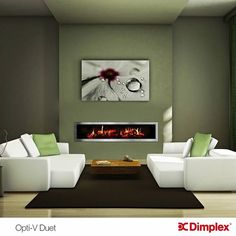 Decorations: Modern Electric Fireplace In Great Painted Wall Interior For Small Living Room With Ceramic Floor With Soft Carpet Used Some Small Flowers Vase With Small Chairs from Modern Electric Fireplace Designs See More. Living Room Green, Interior Design Living Room, Living Room Decor, Living Rooms, Interior Minimalista, Indoor Electric Fireplace, Electric Fireplaces, Fireplace Design, Fireplace Modern