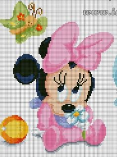 Minnie Mouse x-stitch Disney Cross Stitch Patterns, Cross Stitch For Kids, Cross Stitch Heart, Crochet Stitches Patterns, Cross Stitch Kits, Modele Pixel Art, Crochet Disney, Crochet Baby, Cross Stitch Quotes