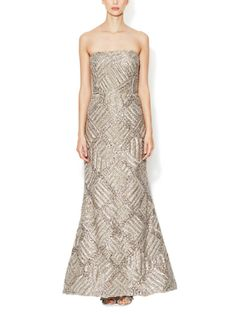 Silk Lamé Embellished Gown