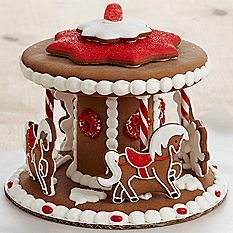 Handmade Gingerbread Carousel Cookies Delivery : This Whimsical Holiday Gift Puts A New Spin On The Classic Gingerbread House. Each Piece Of Spicy Gingerbread I Gingerbread House Designs, Gingerbread Village, Christmas Gingerbread House, Noel Christmas, Gingerbread Man, Gingerbread Cookies, Xmas, Holiday Baking, Christmas Desserts