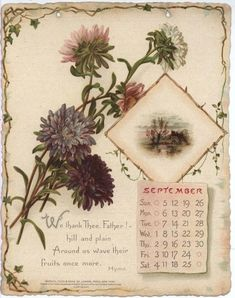 NOBLE THOUGHTS FROM WHITTIER CALENDAR FOR 1897. Vintage Ephemera, Vintage Cards, Vintage Pictures, Vintage Images, Vintage Prints, Vintage Floral, Vintage Calendar, Thread Painting, Paper Frames