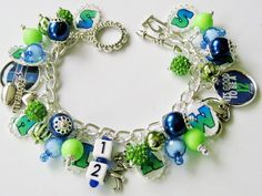 NEW 2015 Seattle Seahawks NFL Charm Bracelet Green Blue Bling Handcrafted Team Letters