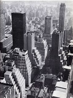 Midtown Manhattan looking east from RCA Building. April 1965.
