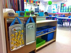 This drip pan attendance chart is a great way to utilize small spaces!