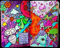 Wreck this journal, pretend your doodling on the back of an envelope while kn the phone, my little pony, cutesy...♥