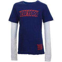 New York Giants Youth Girls Layered Long Sleeve T-Shirt - Royal Blue - $14.99