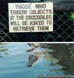 Funny signs :)...my hands are not getting anywhere near a crocodile's mouth!