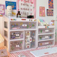 Desk Storage, Desk Organization, Storage Boxes, Cute Room Ideas, Cute Room Decor, Study Room Decor, Room Ideas Bedroom, Otaku Room, Kawaii Room